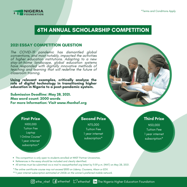 2021 Nigeria Higher Education Foundation (NHEF) 6th Annual Scholarship Essay Competition
